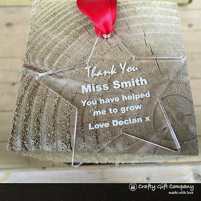 Thank You Teacher Star keepsake gift present in gift bag - Acrylic Personalised
