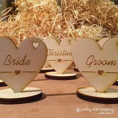 Wedding Table Decorations - Place Setting Name Plaques - Wood