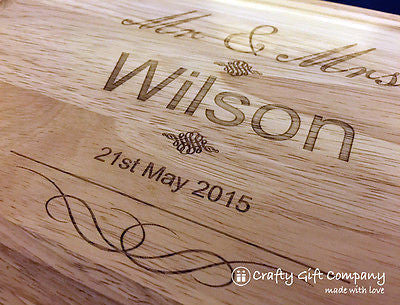 Personalised Mr & Mrs Wooden Chopping Board Wedding couples 5th Anniversary Gift