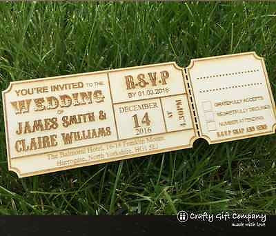 Personalised rustic wedding invitations WOODEN
