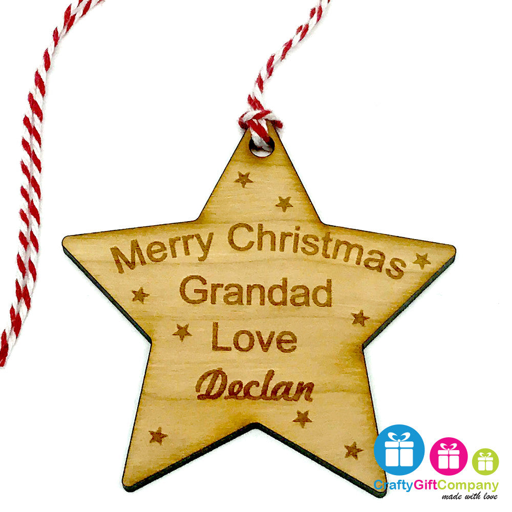 Personalised Bauble -Merry Christmas Star Grandad, Grandma etc - Cherry Star Tree Decoration