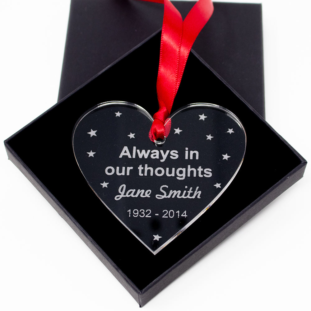 Memory Heart Personalised Decoration Tree Bauble Christmas Acrylic Memorial