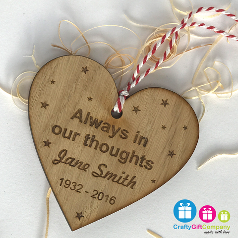 Memory Heart Personalised Decoration Tree Bauble Christmas Oak Memorial
