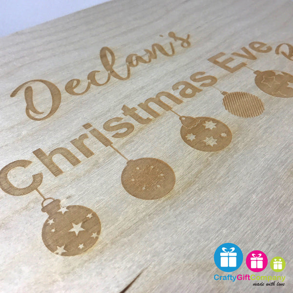 Wooden Christmas Eve Box & Free Santa Key (Bauble Style)