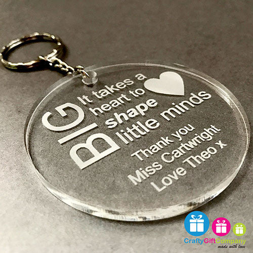 Personalised Teacher Engraved Keyring Gift Thank You School (Round)