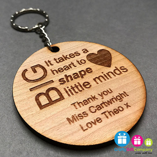 Personalised Teacher Engraved Keyring Gift Thank You School (Round Wood)