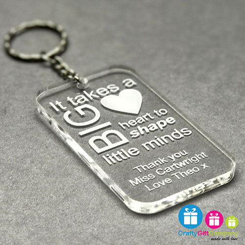 Personalised Teacher Engraved Keyring Gift Thank You School End Of Term