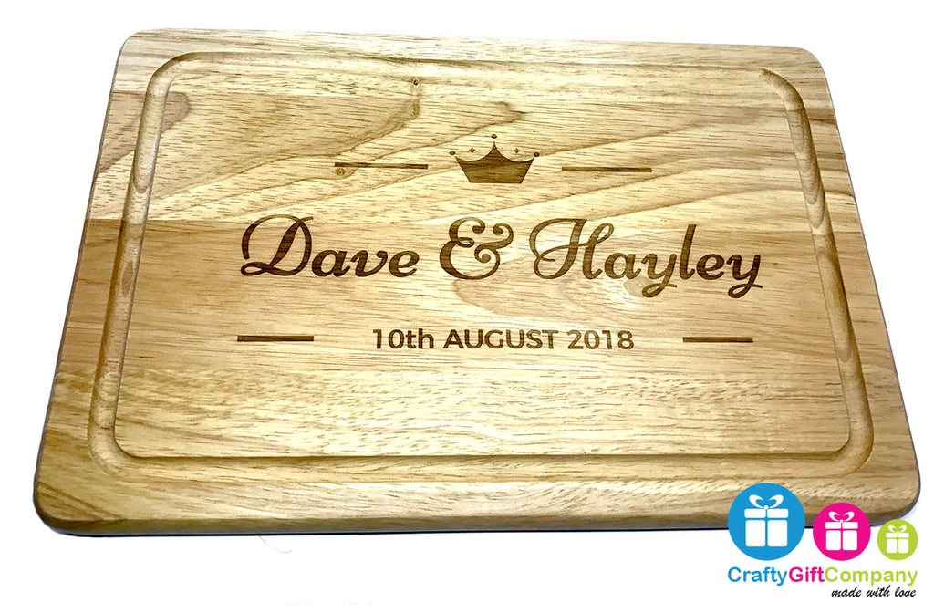 Mr & Mrs Wooden Crown Chopping Board Wedding 5th Anniversary Gift Present