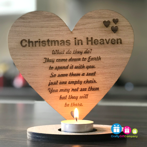 Christmas in Heaven reme heart candle holder sign