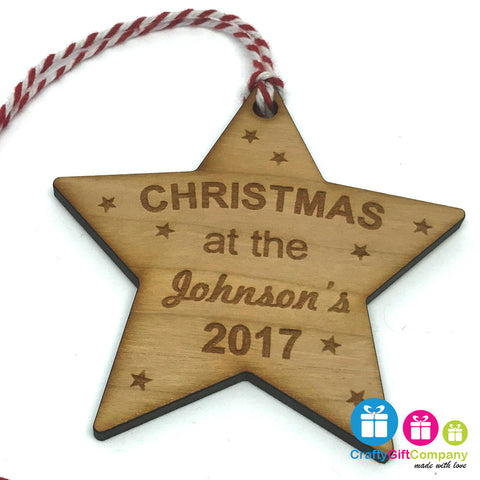 Personalised Bauble - Christmas At The tree decoration ornament Cherry Wood