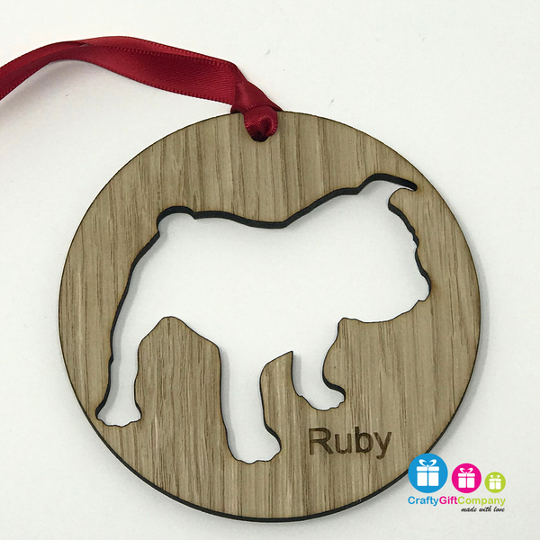 Personalised Dog Bauble made from Oak