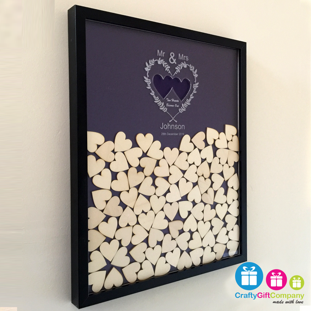 Wedding heart drop box guest book including frame and hearts