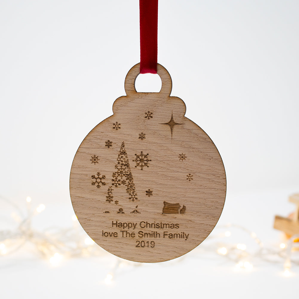 Family Name Christmas Scene gift Bauble oak