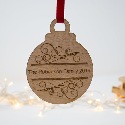 Family Name Christmas tree Bauble oak