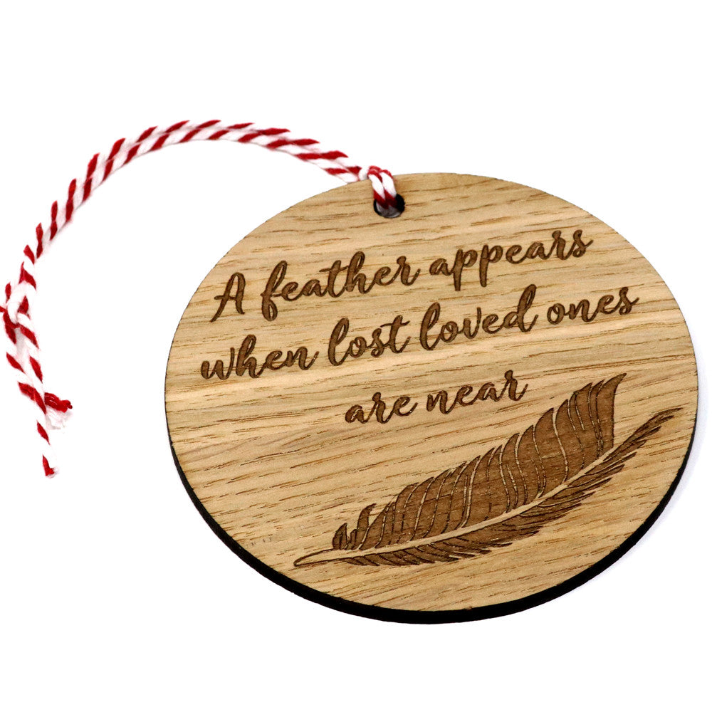Feather Memorial Bauble Christmas tree ornament oak