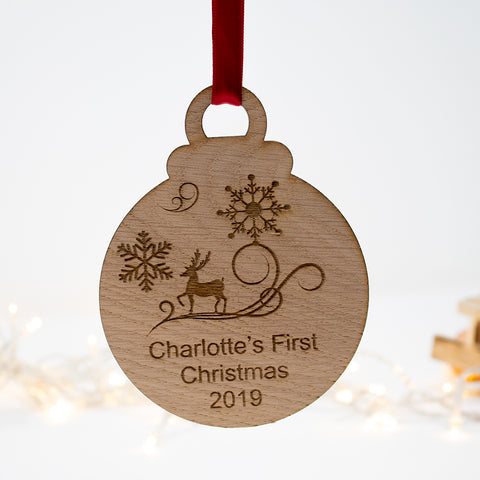 First Christmas Bauble oak