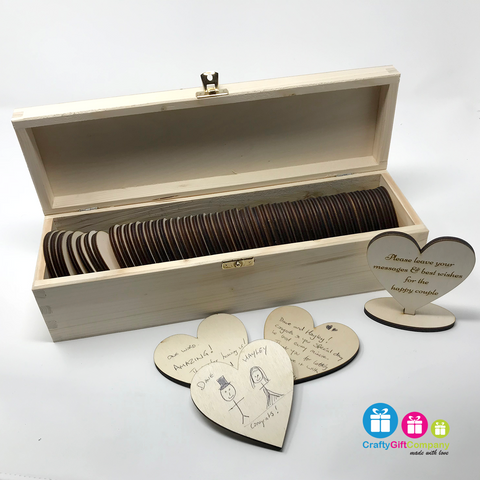 Personalised Wedding Guest Book  with hearts, box and sign (Design 2)