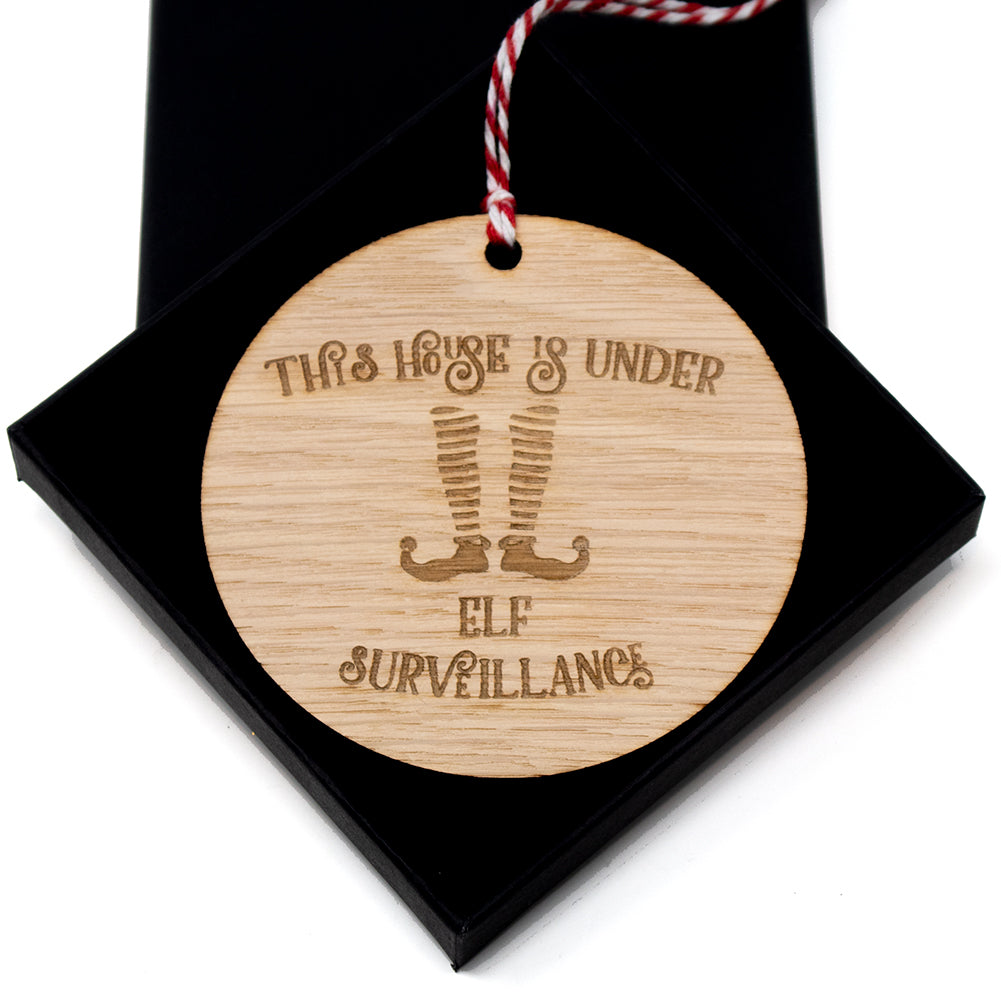 Elf Surveillance Christmas tree ornament Oak bauble