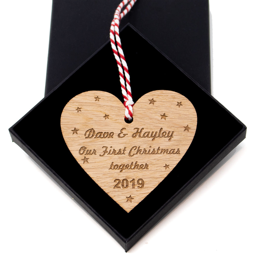 Personalised First Christmas Together Heart Xmas Tree Bauble - Oak Wood