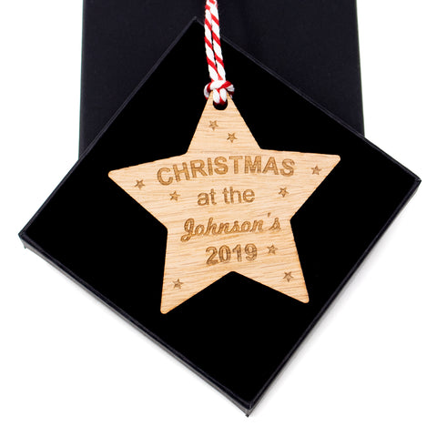 Personalised Bauble - Christmas At The - Oak Star Tree Decoration