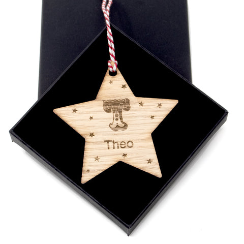 Personalised Bauble - Letter and name star tree decoration ornament Oak Wood