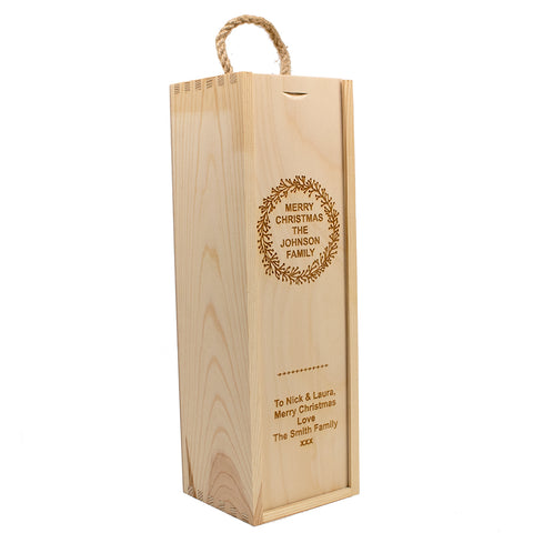 Family Christmas Wooden Wine Box
