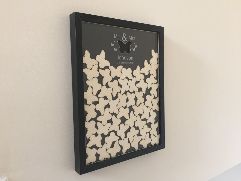 Wedding butterfly drop box guest book including frame and butterflies