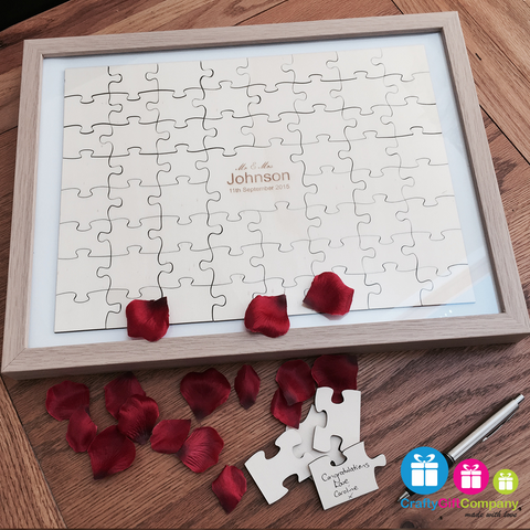 60 pcs Wedding jigsaw personalised Puzzle Guest book including free frame.
