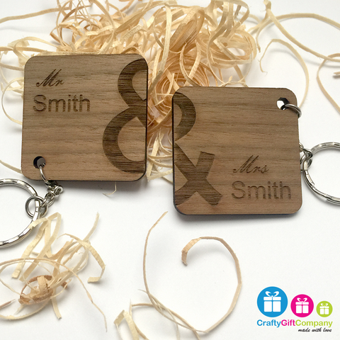Personalised Mr & Mrs Wedding Engraved Keyring Set Gift Present Solid walnut