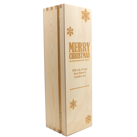 Merry Christmas Wooden Wine Box