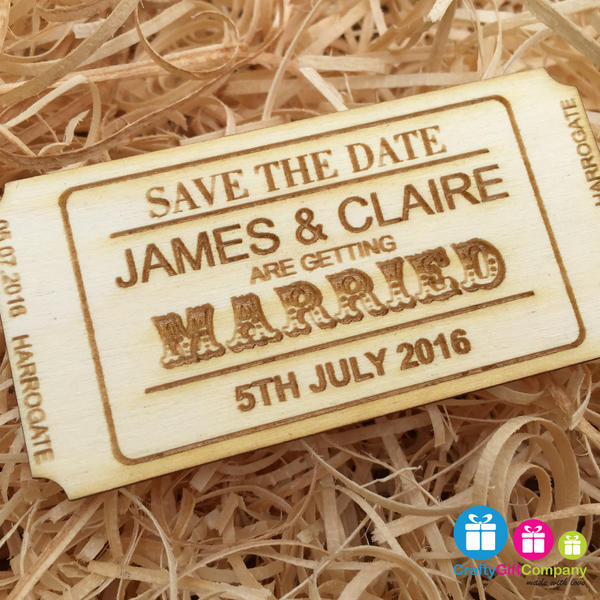 Personalised Save the Date ticket wedding wood vintage