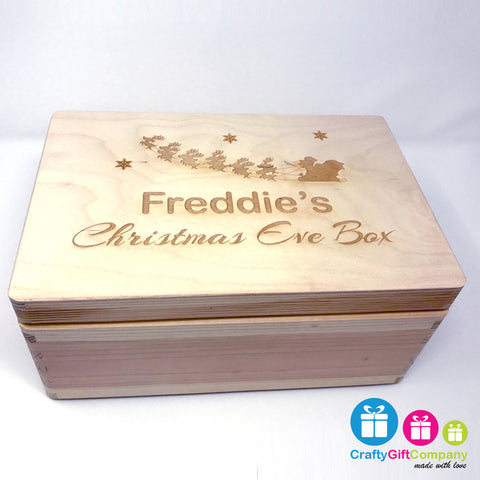 Wooden Christmas Eve Box & Free Santa Key (Sleigh Style)