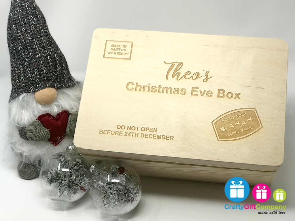 Wooden Christmas Eve Box & Free Santa Key (Stamp Style)