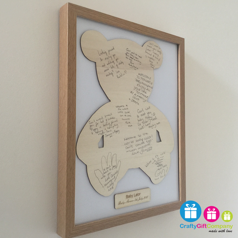 Baby shower / Christening personalised teddy Guest book including free frame.