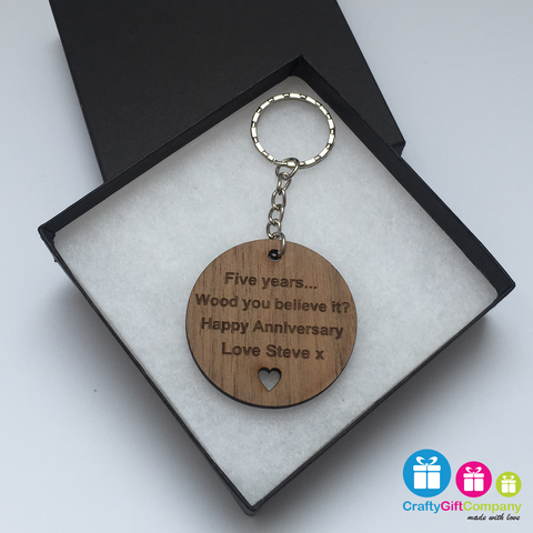 Personalised Wood You Believe It 5th Wedding Anniversary Gift Present Solid walnut