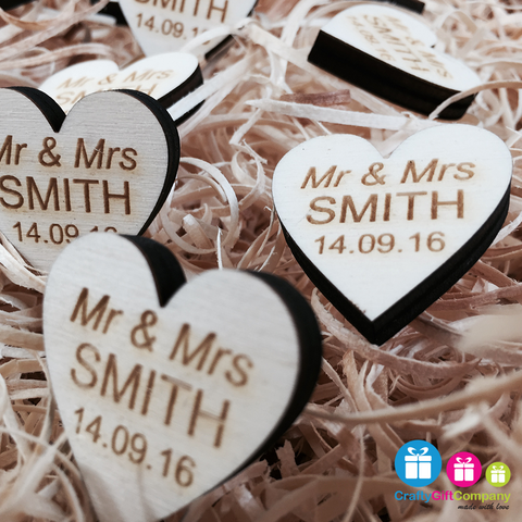 Personalised Wooden Heart Table Decorations Rustic Vintage Wedding Favours