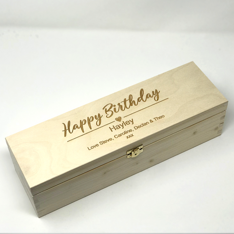 Personalised engraved wooden birthday wine box
