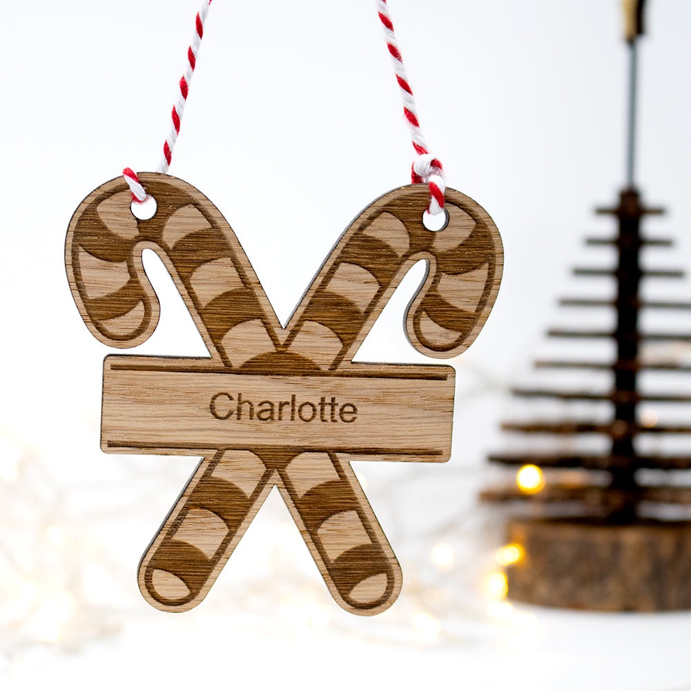 Candy Cane Bauble Personalised Tree Decoration Gift