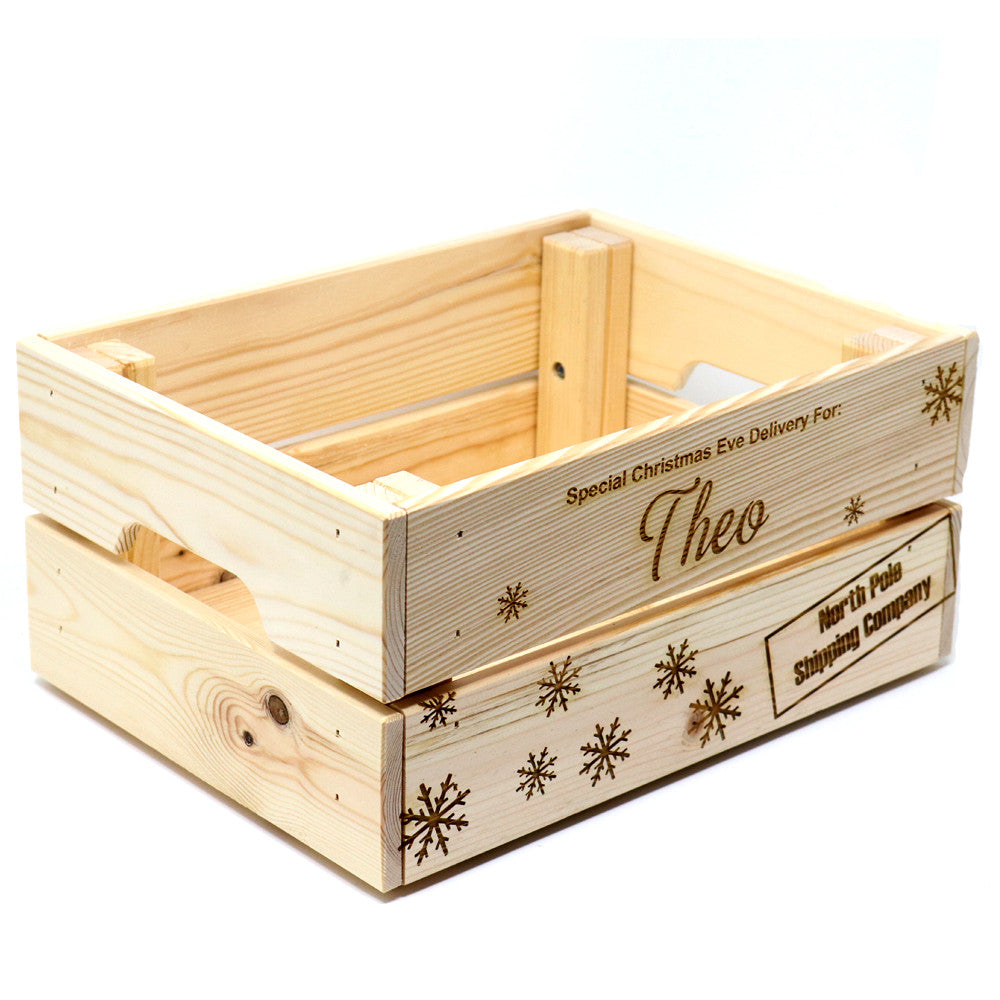 Christmas Eve Crate.Wooden Christmas Eve Box Crate