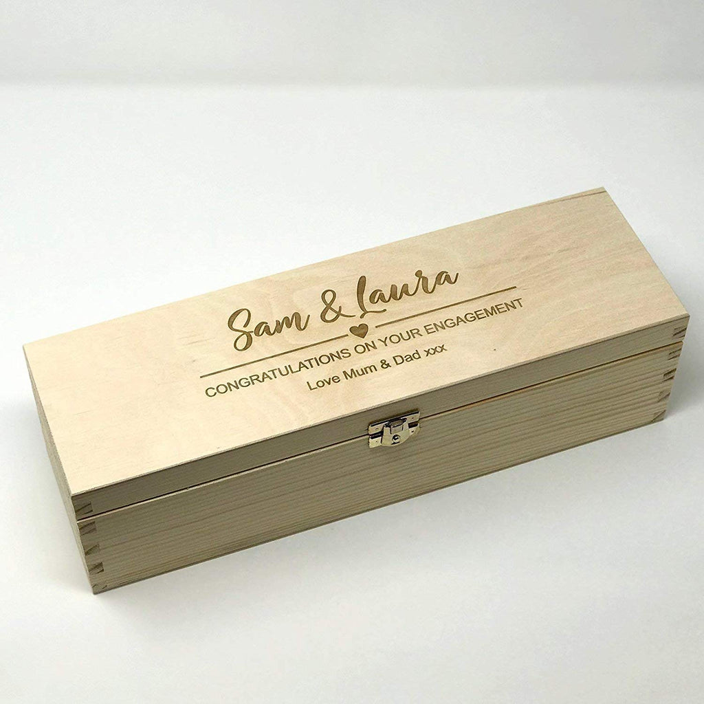 Personalised engraved wooden wine box