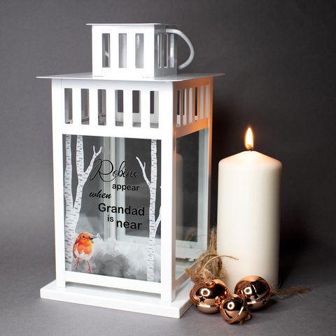 Personalised Lantern - Remember lost loved ones robins appear