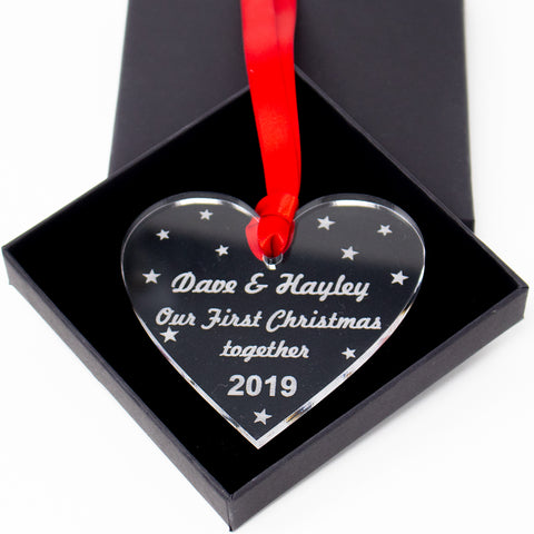 Personalised First Christmas Together Heart Xmas Tree Bauble