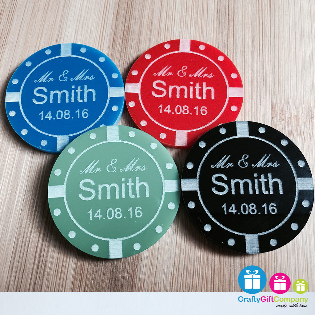 Personalised Acrylic Poker Chip casino style Wedding Table Decoration Favours