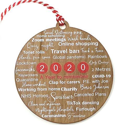 Lockdown 2020 remembrance bauble - Walnut