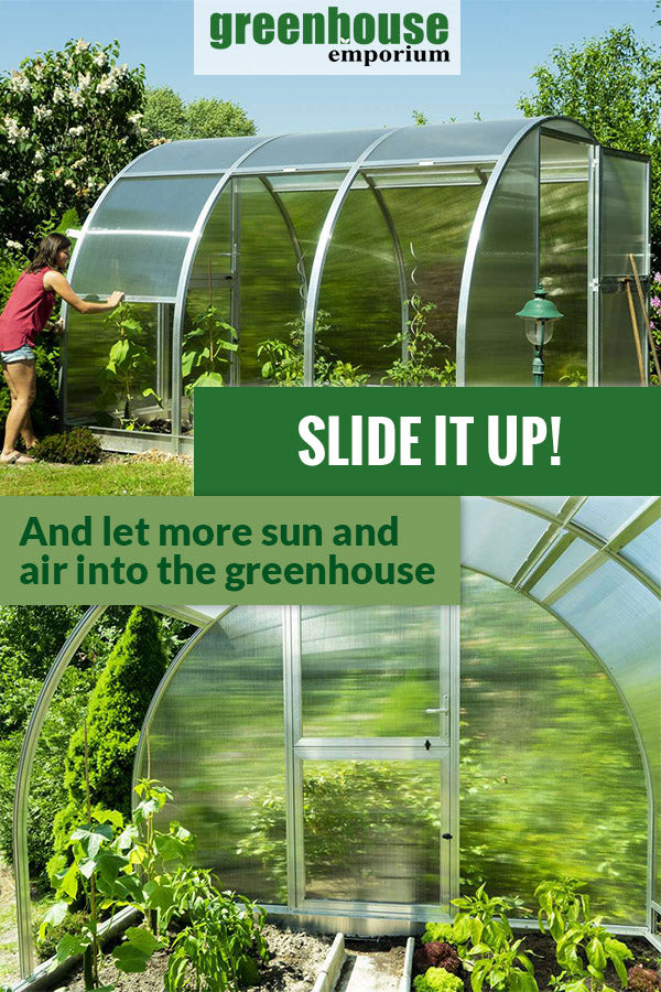 Arcus 3 Greenhouse exterior view with side panels open to show plants and below is the interior view showing plants and open panels on the left side with the text saying Slide it up! And let more sun and air into the greenhouse