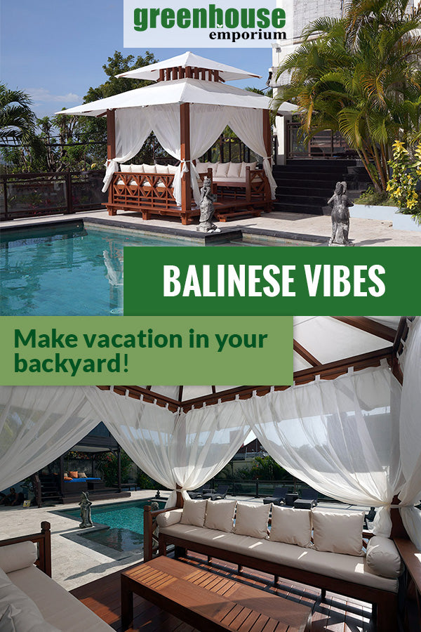 Handcrafted Balinese Solid Wood Gazebo by the pool and below is the interior view with the text saying Balinese Vibes Make vacation in your backyard.