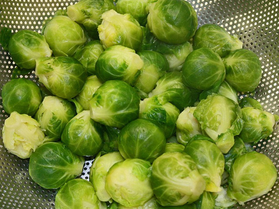 Ready to cook Brussels sprouts in a strainer