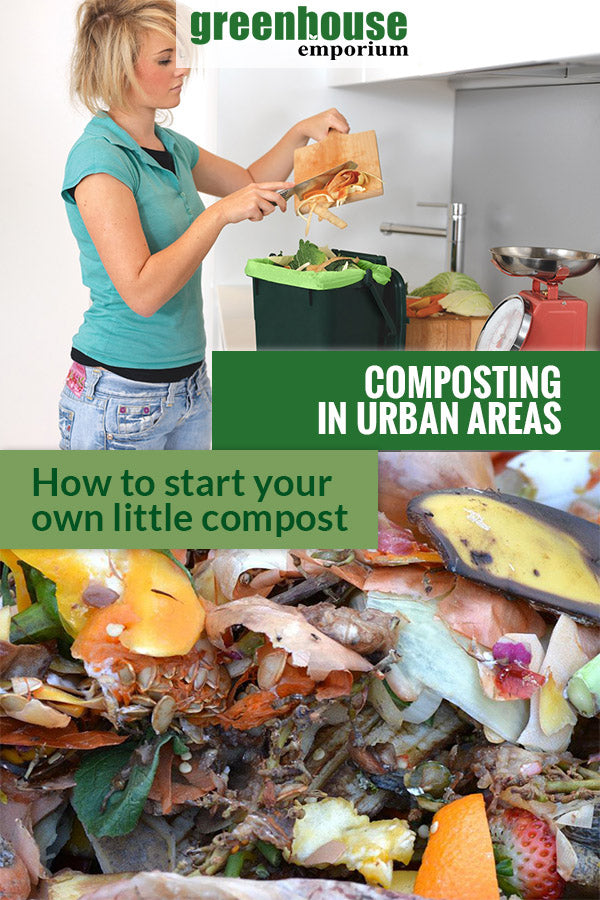Woman putting food scraps in a mini bin and compost material at the bottom with the text: Composting in urban areas - how to start your own little compost