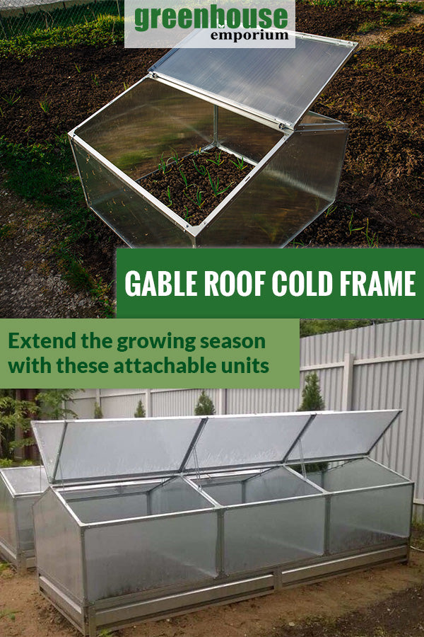 Delta Park Gable Roof Cold Frame with plants inside. Left roof panel open. Below are three attached cold frames with the text in the middle saying Gable roof cold frame Extend the growing season with these attachable units