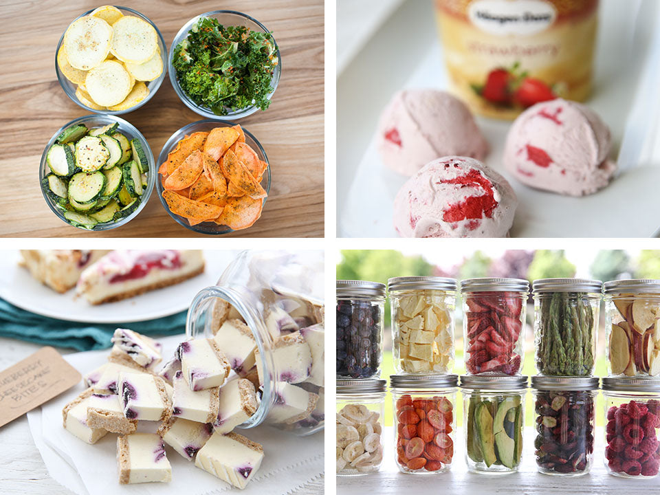 Different types of food (veggies, fruits, ice cream, cake) that has been freeze-dried